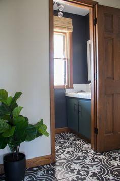 Black and Green Bathroom with Cement Tile Painted Bathroom Floors, Stenciled Tile Floor, Painting Bathroom Tiles, Tile Floor Diy, Painting Tile Floors, Painted Floors, Hall Flooring, Diy Flooring, Kitchen Flooring