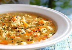 Zeleninová polévka z květáku a dalších ingrediencí, zahuštěná jíškou, doplněná o domácí kapání. Soup Recipes, Cooking Recipes, Czech Recipes, Food 52, Soups And Stews, Cheeseburger Chowder, Food Porn, Food And Drink, Yummy Food