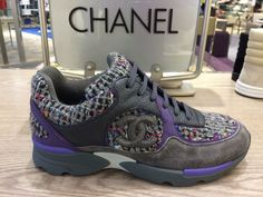 29223d102391 These Chanel Purple Gray Tweed Suede Sneakers Tennis Trainers 37 Sneakers Size  US 7 Regular (M