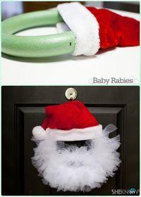 DIY Santa Tulle Wreath Instructions- #Christmas Wreath Craft Ideas Holiday Decoration