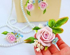 bridesmaid jewelry set with roses prom by MostBeautifulPeople