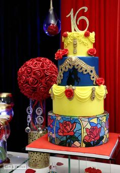 You have to see this cake at a Beauty and the Beast Quinceañera birthday party! See more party ideas at CatchMyParty.com!