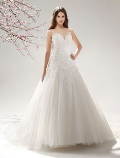 Tulle and Netting A-line Wedding Dress MS043 - Bridal Gowns - RainingBlossoms