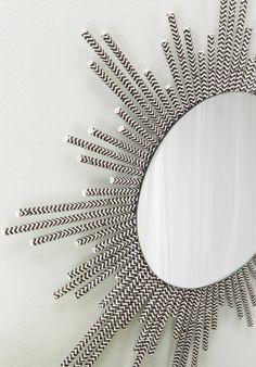 plastik kunst stilvoller spiegel rund chevron muster