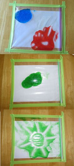 No-mess fingerpaint! Put 1 or more colors in a freezer  ziplock bag (stronger than the regular). Try to push the air out as much as you can, close the bag. Put a piece of paper underneath the ziplock bag and tape it down to your table with masking tape (comes up easy!)... and let the kids play!