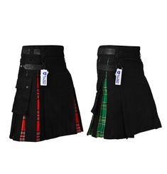 New Hybrid Black Kilt Royal Steward & Irish Tartan Hybrid Utility Kilt 2 Designs Kilt Belt, Irish Tartan, Tartan Kilt, Black Kilt, Kilts For Sale, Kilt Jackets, Gothic Fashion, Mens Fashion, Skirts