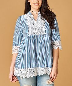 Love this Blue Stripe Lace Notch-Neck Tunic on #zulily! #zulilyfinds