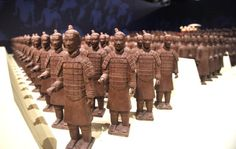 Miniature chocolate Terracotta Warriors are displayed in Taipei. The chocolate replicas measuring up to 35 centimeters (inches) in height.