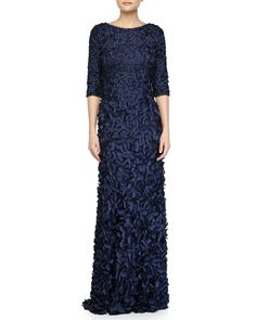 Half-Sleeve Scoop-Back Petal Gown, Navy - Theia