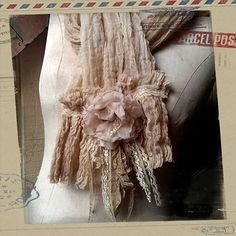 Paris Rags Gauze Scarf with Rose, Beautiful Shabby Chic Style Scarf