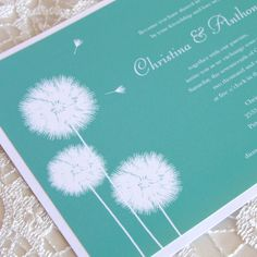 Dandelion Wedding invitation.  Especially love the teal color!