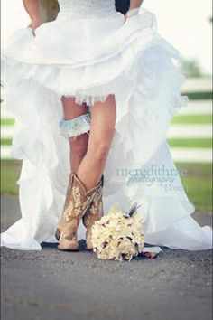 Cowgirl wedding Boots   Cowgirl boots with the dress. Kaute