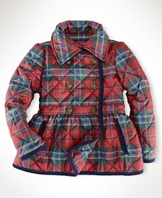 Ralph Lauren Kids Jacket, Little Girls Tartan Quilted Jacket - red plaid - $100.00