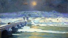 The Bridge Over The Allier At Pont-du-Chateau, In Winter - Albert Lebourg