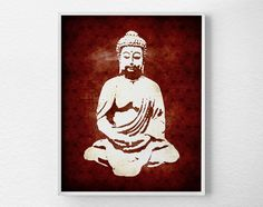 Red Buddha Print
