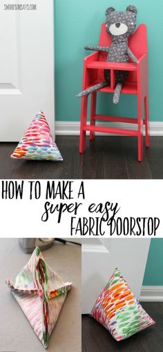 Easy doorstop sewing tutorial - see how to make a diy doorstop and keep the air flowing in your house. Step by step sewing tutorial for beginners. #sewing