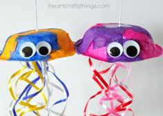 Make a colorful jellyfish craft out of a paper bowl.