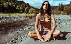Aitutaki - Digital Printed triangle top with cute eyelet features, side tied brief.