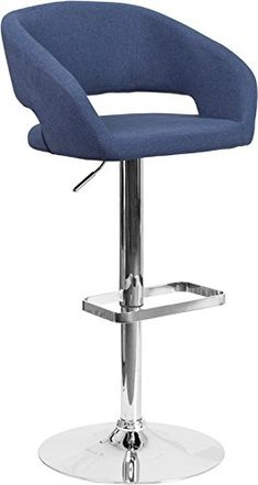 ComfortScape Contemporary Blue Fabric Adjustable Height Barstool with Chrome Base