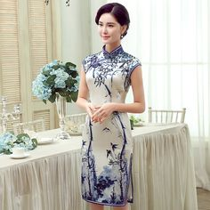 Captivating+Bamboo+Print+Silk+Qipao+Cheongsam+Dress+-+Qipao+Cheongsam+&+Dresses+-+Women