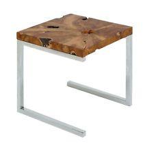 Mesa Lateral Moderno em um acabamento de madeira de teca Elegante E Frame de aço inoxidável