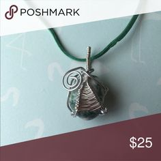 """Tree Agate Necklace This is a handmade piece wirewrapped by me. It's made with a piece of tree agate and is on a 20"""" cord. Jewelry Necklaces"""