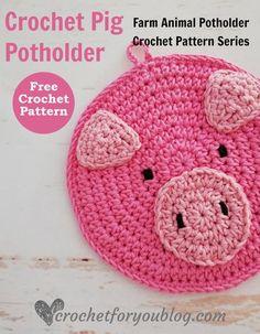 Crochet Pig Potholder Free Pattern #crochetforyoublog #crochetpig #crochetpotholder #freecrochetpattern #crochetfarmanimal #crochetanimal Crochet Hot Pads, Crochet Pig, Crochet Geek, Crochet Home, Crochet Crafts, Crochet Projects, Free Crochet, Crochet Kitchen, Crochet Faces