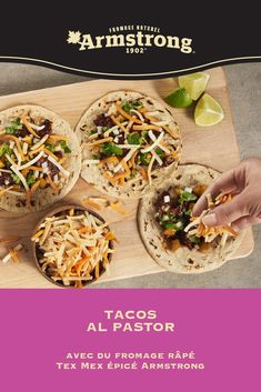ARMSTRONG | Pimentez vos soupers de semaine avec ces recettes d'inspiration tex mex. Tacos, nachos... L'ingrédient secret de tous les plats est assurément le fromage! Tacos Al Pastor, Pizza Taco, Salades Taco, Cheese Recipes, Chicken Recipes, Tex Mex, Nachos, Food Dishes, Recipes