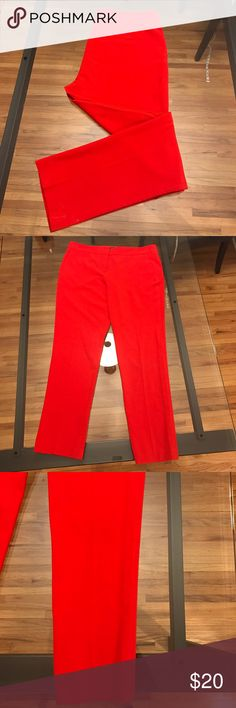 "Vince Camuto Red Skinny Ankle Pants Vince Camuto red skinny ankle pants. Inseam approx 28"". Button is missing but the clasp closure is in perfect condition (see image 4). Reflected in price. Material: 63% polyester, 33% rayon, 4% spandex. Only worn a few times! Vince Camuto Pants Ankle & Cropped"