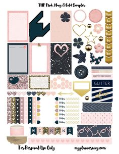 THP Pink, Navy, & Gold Sampler - My Planner Envy