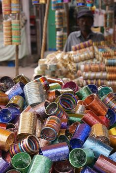 INDIA: Hyderabad - Bangles for sale in a Market Stall. Fabric Jewelry, Beaded Jewelry, Indian Jewelry, Indian Bangles, India Fashion, India Travel, Incredible India, Hyderabad, Beautiful World