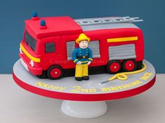 Character cakes Fireman Sam and Fire Engine cake theCakeWorks Truck Birthday Cakes, 4th Birthday Cakes, Truck Cakes, Novelty Birthday Cakes, Firefighter Birthday Cakes, Fireman Birthday, Fire Engine Cake, Fireman Sam Cake, Character Cakes