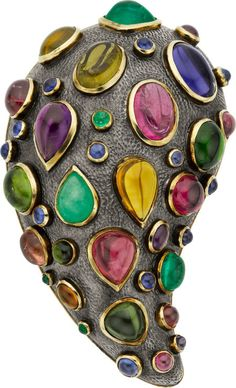 Marilyn Cooperman Multi-Stone, Gold, Silver Brooch 18k gold and oxidized sterling silver with tourmaline, emerald, beryl, peridot, citrine, iolite and amethyst.