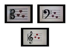 Music Clef Love PDF Cross Stitch Pattern by BlueTopazStitchery Bird Embroidery, Cross Stitch Embroidery, Embroidery Patterns, Cross Stitch Patterns, Pdf Patterns, Cross Stitch Music, Cross Stitch Heart, Music Crafts, Music Decor