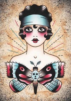 Moth Woman tattoo flash art - Angelique Houtkamp