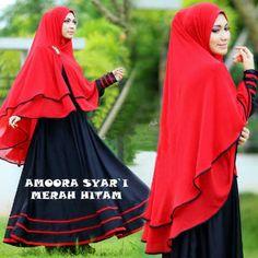 Gamis Syar'i Modern AMORA MERAH-HITAM - http://warongmuslim.com/gamis-syari/gamis-syari-modern-amora-merah-hitam/