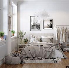 ,Scandinavische slaapkamer, - Lilly is Love Scandinavian Bedroom, Scandinavian Design, Scandinavian Furniture, Beautiful Small Bathrooms, California Bedroom, Industrial Interior Design, World Of Interiors, Farmhouse Interior, Bedroom Styles