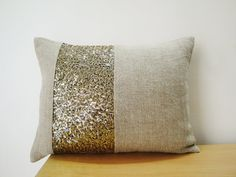 Linen Pillow with Gold Sequin Band , Holiday Decor , Throw Pillow , Decorative Pillow on Etsy, $25.00