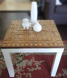 Fan-tastic Stenciling! Melissa from Aldana Art crafted this classic Indian Inlay stenciled side table. Give her a 'like' for a stencil job well done!  Upcycle today! http://www.cuttingedgestencils.com/indian-inlay-stencil-furniture.html  ‪#‎cuttingedgestencils‬ ‪#‎stencils‬ ‪#‎stenciling‬