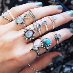 Pretty Blue Hues in our Rainbow Moonstone, Blue Topaz and Turquoise Ring in store now at www.shopdixi.com // shop dixi // boho // bohemian // mermaid // shell ring // hippie