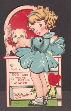 "Vintage Valentine Card - Girl with Puppy - Animated - No writing - 5.25"" x 3"""