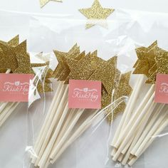 These Gold Glitter Cupcake Toppers are perfect for a Twinkle Little Star themed baby shower or 1st birthday!