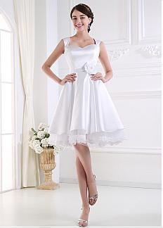 Elegant Satin A-line Wedding Dress With Handmade Flowers & Beadings