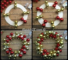 How to Make an Ornament Wreath I& going to show you a real easy way on how to make an ornament wreath out of shatter proof ornaments! These ornaments are really light and they hold Bauble Wreath, Christmas Ornament Wreath, Christmas Wreaths To Make, How To Make Wreaths, Holiday Wreaths, Christmas Diy, Christmas Bulbs, Santa Wreath, Christmas Quotes