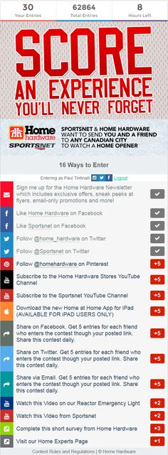 Contest on Sportsnet.ca. Win a trip to any Canadian city to watch an NHL home opener Win A Trip, Never Forget, Nhl, Watch, City, Clock, Wrist Watches