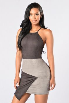 - Available in Black/Grey - Sleeveless - Color Block - Faux Suede - Asymmetric Hem - Fully Lined - Made in USA - 95% Polyester, 5% Spandex