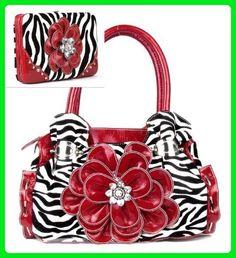 Red Zebra Print Flower Rhinestone Purse W Matching Wallet - Wallets (*Amazon Partner-Link)