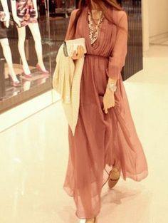 New Fashion Two Pieces Sets Long Sleeve Drape Maxi Dress : Tidebuy.com
