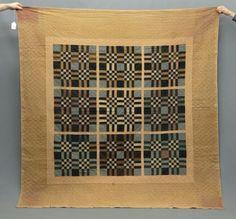 Amish Sixteen Patch Quilt (Copake Auction Inc. Old Quilts, Amish Quilts, Antique Quilts, Small Quilts, Vintage Quilts, Or Antique, Gray Quilts, Primitive Quilts, Amish Quilt Patterns