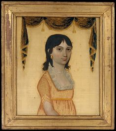 Portrait of Catherine Lorillard, ca. 1810, New York. Silk ground cloth, painted with oil and embroidered with silk. The Metropolitan Museum of Art  Accession Number: 1999.144.